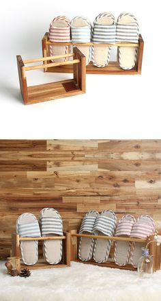 HOZZLE (Korea Handmade Designer)  --- Wooden slipper rack ---  - wood : Acacia, Pine(pole), Leather patch  - Size  1. Small : 2 pair mounting (W 27.5 * H 18 * D 12 cm)  2. Medium : 4 pair mounting (W 50 * H 18 * D 12 cm)  Best regards, HOZZLE