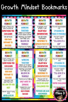 Promote Growth Mindset in your classroom with these bright and colourful bookmarks. There are 16 different motivational quotes and 48 bookmarks in total (12 unique designs). Update: Now includes mini bookmarks for smaller books. Simply print the design/s you want and laminate. © Tales From Miss D