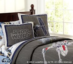 Not usually a fan of branded stuff but this Star Wars bedding is superb!  Better not let Jacob see this picture ;)  Trust Pottery Barn!  Star Wars™ x-wing & TIE Fighter™ Quilted Bedding #PotteryBarnKids