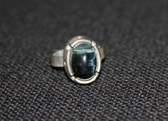 Vintage genuine silver ring with dark stone. Matti by Piippana