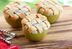 Apple Lattice Pie Baked in an Apple - easy to make in camp with canned filling and premade pastry dough
