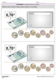 Plusieurs fiches d'exercices pour s�entra�ner � rendre la monnaie lors d'un achat (billets, pi�ces en euros et centimes)