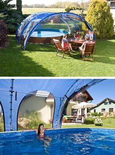 So schnell entsteht ein Hallenbad und kann als Pavillon umfunktioniert werden! ;-) #pool #überdachung #garten