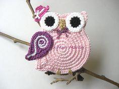 Crochet Coasters Owl Valentine Spring Decor Nursery Decoration Gift Teachers Tea Rose Shabby Chic Country Purple 1 Piece. $15.00, via Etsy.
