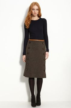 long wool skirt with buttoned panel - would love something similar BUTTONS! Long Wool Skirt, Wool Skirts, Work Fashion, Modest Fashion, Style Couture, Cute Skirts, Modest Outfits, Nordstrom Dresses, Her Style