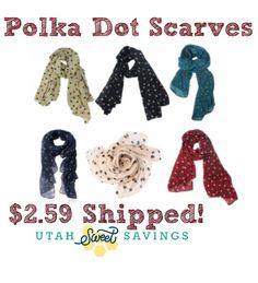 Polka Dot Scarves 2.59 Polka Dot Scarves $2.59 Each!  Free Shipping!  *Price Drop*