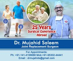 Director Institute of Bone and Joint Replacement NIMS University Hospital, Jaipur. Senior Consultant Eternal Hospital, Jawahar Circle, Jaipur. Consultation chamber at Mangalam Hospital,Baraf Khana, Jawahar Nagar, Jaipiur. Will Start Operating Soon at Vasundhara Hospital, Jodhpur too. #JointReplacementSurgeon #KneeReplacement #JointReplacement #TotalKneeArthroplasty #NIMS #EternalHospital #MangalamHospital #KneePain #TotalRelief #AbletoWalk