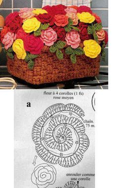 Crochet rose chart pattern