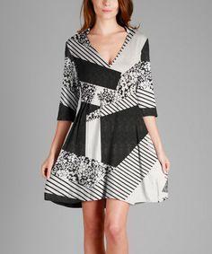 Look what I found on #zulily! Black & White Patchwork Fit & Flare Dress - Plus #zulilyfinds
