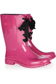 Perhaps the stylish solution to monsoon rain. RED Valentino Lace-up rubber rain boots.