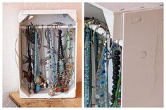 Schmuckaufbewahrung in Mandarinenkiste / Jewelry display made of tangerine crate / Upcycling Jewellery Storage, Jewellery Display, Bottles And Jars, Diy Storage, Small Storage, Craft Fairs, Wardrobe Rack, Crates, Recycling