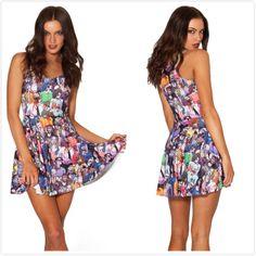 New 2014 Women Brand Summer Exotic zombie Print Pleated Dress,Ladies Sexy Mini Causal Beach Dress S M L Free Shipping $24.05