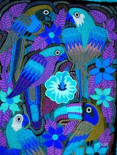 Birds of #Panama abstract in blue Mola acendasvacations.com #travel