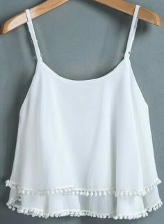 c1e749decb0bf Product name  White Spaghetti Strap Double Layers Chiffon Vest at SHEIN
