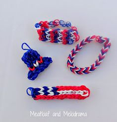 red white and blue rainbow loom bracelets, flag and hat