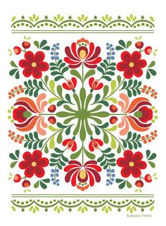 Folk Art Flowers, Red Flowers, Flower Art, Hungarian Embroidery, Folk Embroidery, Embroidery Stitches, Polish Embroidery, Embroidery Tattoo, Machine Embroidery