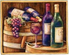 Wine on Barrels by Susan Winget Wine Painting, House Painting, Grapes And Cheese, Make Your Own Wine, Cafe Art, Wine Signs, Wine Decor, Glass Cutting Board, Antique Decor