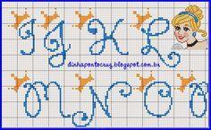 Dinha Ponto Cruz: Monograma cinderela ponto cruz