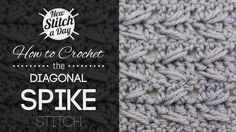 Crochet Tutorial: How to Crochet the Diagonal Spike Stitch. To learn this stitch, click the link: http://newstitchaday.com/how-to-crochet-the-diagonal-spike-stitch/ #crochet #yarn #diy