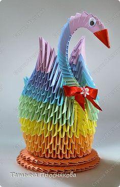 Мастер-класс Оригами модульное: Радужный лебедь Бумага