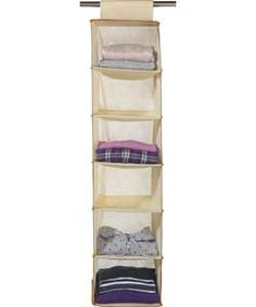 6 Shelf Hanging Storage Unit With Edging   Cream.