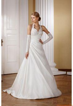 Nackhalter Preiswerte Brautkleider 2014 aus Satin
