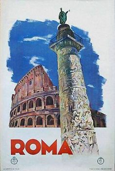 Roma   Vintage travel poster   #Affiches #Carteles #Viajes #Retro #Europe #Italy   http://defharo.com