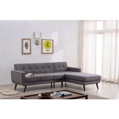 US Pride Furniture Linen Fabric Upholstered Mid-century Right-facing Tufted Sectional Sofa