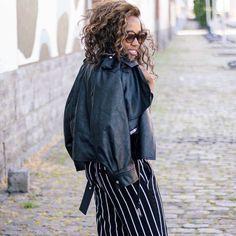 Pantalon raye noir, perfecto, black striped pants
