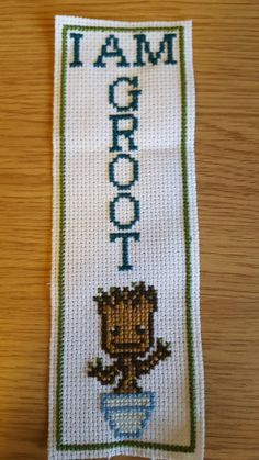 I Am Groot Cross Stitch Bookmark