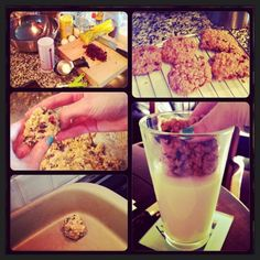 Look up this recipe on allrecipes.com! Best oatmeal cookies! I add dried cranberries and chocolate chips! ^_^