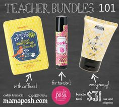 "Start the year off right! Teacher bundle gift set, or buy it for yourself as a ""survival kit"".. The soap has caffiene in it to help tighten and brighten your skin and the Perk stick is loaded with essential oils and great for relief from tension and headaches! Want to earn your way to free Perfectly Posh products?? Sign up for Perks before you order! allthingsposh.po.sh to find out how!!"