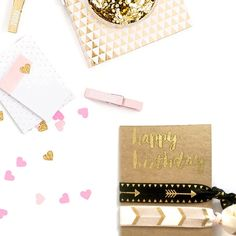 Send some extra birthday love with these gold patterned hair ties!