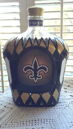 New Orleans Saints Crown Royal Glass Decanter by PattiesPassion
