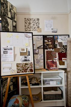 Real world Mood Boards in the office of Interior Designer Tommy Chambers. Thanks to technology we now have Pinterest and Olioboards as well, difference being - how they fill space on your laptop and not your office/studio