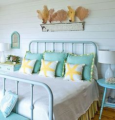 Very soothing color palette and I'm always a fan of the beachy look. via My Home Ideas