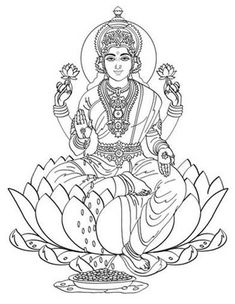 Hindu Mythology (Gods and Goddesses) – Printable coloring pages Ganesha Drawing, Ganesha Painting, Ganesha Art, Krishna Art, Kerala Mural Painting, Tanjore Painting, Saree Painting, Indian Goddess, Goddess Art