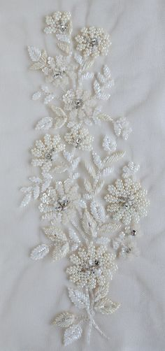 Art. J480 Ground Fabric : Tule Color : Ivory Champagne  Size (US or Imperial) : 9.8 inches length x 3.9 inches width Size (Metric) : 25 cms length x 10 cms width  International shipping costs are only USD 20 per order and remain the same irrespective of where you live. The goods are