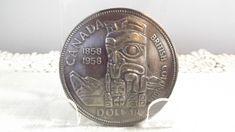 Vintage Canada Dollar Coin Belt Buckle Featuring Haida Folk Art Totem Pole British Columbia Coin Belt, Canadian Coins, Coin Design, Haida Art, Interesting Conversation, Vintage Belt Buckles, Dollar Coin, Paper Gifts, British Columbia