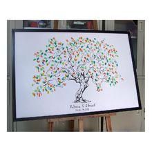 Personalice la huella digital Tree Wedding Guest Book árbol único firma libro de visitas alternativa Vintage decoraciones de la boda(China (Mainland))