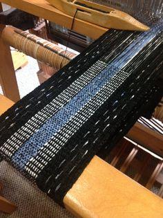 Black Sparkle Scarf using supplementary warp. Re-stocking a customer favorite....