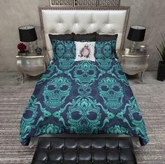 Blue and Teal Damask Skull Duvet Bedding Sets Teal Bedding, Duvet Bedding Sets, Best Bedding Sets, Luxury Bedding Sets, Linen Bedding, Bed Linens, Modern Bedding, Blue Comforter, Comforters