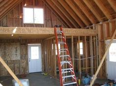 small cabins with lofts | loft framing loft after insulation and drywall drywall going up on