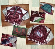 SUKAJAN Bomber satin Souvenir Baseball Embroidery jacket ( japanese M ) Carp KOI…