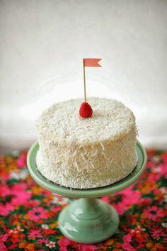 Coconut Raspberry Snowball Cake Recipe