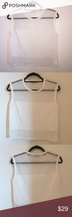 Zara white cotton muscle crop tank Zara white muscle tank with see through checkered pattern on top and triangle pattern on bottom. Size S. Excellent condition, worn once. Zara Tops Muscle Tees