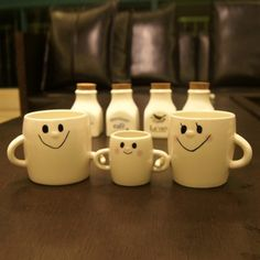3Pcs Ceramic Family Cups with Smiley Face //Price: $24.95 & FREE Shipping //