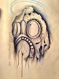 cool gas mask drawing | Gas Mask skull by RLsaber on ... Gas Mask Tattoo Sketch