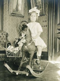 1900 - 1910s Children Fashion Toys Rocking Horse