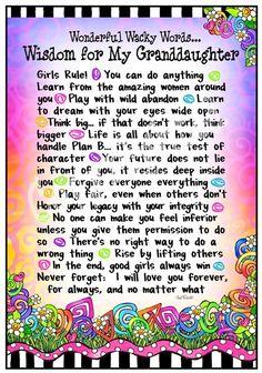 """Wonderful Wacky Words... Wisdom for My Granddaughter"